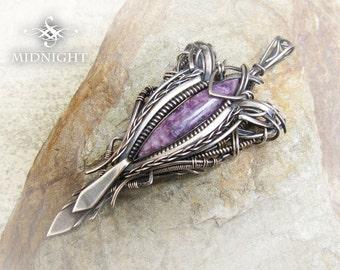 """Purple Charoite in Sterling & Fine Silver Wire Wrap/Construction Pendant (MC7)  """"FAITH"""""""