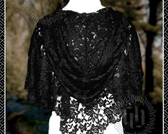 Black Lace Hooded Capelet with Double Layer. Gothic, Steampunk, Victorian, Wedding, Handfasting, Eveningwear