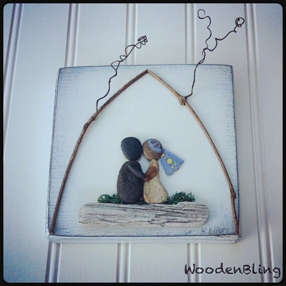 Stone Art Wedding Gift : Mixed Media, Wedding Gift, Pebble Art, Vows, Engagement Gift ...
