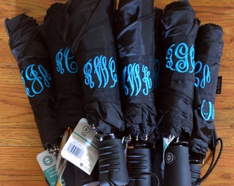 Personalized Monogramed Black Umbrella, your font choice, Single or Double Monogram Available