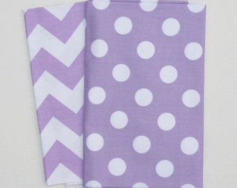 Fat Quarter Set - Riley Blake Lavender Chevron and Dots - MEDIUM Lavender and White - Quilter's Cotton
