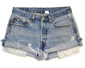 vintage LEVIS cuf off shorts / levis shorts denim cut offs / vintage distressed blue jean