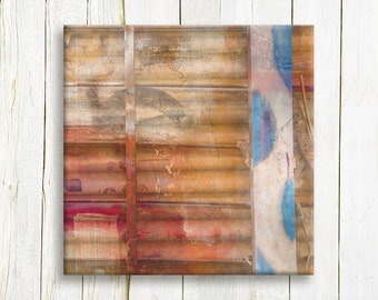 Square Rustic abstract art printed on canvas - Living room decor - housewarming gift
