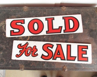 Vintage Wood Double-sided Signs - 'Sold' and 'For Sale' - Two Pressed Board Signs in White With Lettering - Bold and Fun - Used and Worn