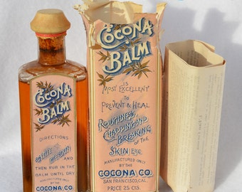 Colorful 1880s San Francisco COCONA BALM antique bottle.   All original - Fully Labeled - Full Contents - Sealed - Never opened!