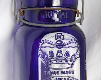 Pristine Purple 1896 dated ROYAL fruit canning jar SQUARE and PURPLE an all original antique smaller pint size Smalley Co