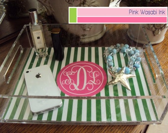 Monogrammed Lucite Tray Personalized Acrylic Tray Lucite Serving Tray Custom Acrylic Tray Choose Colors
