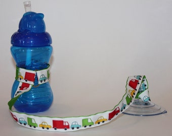 Vehicles Sippy Cup Leash | Sippy Strap | Sippy Cup Strap with Suction Cup | Bottle Tether | Bottle Strap |Toy Tether | Suction Sippy Strap