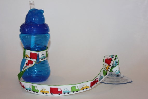 Sippy Cup Leash, Sippy Cup Strap, Baby Bottle Holder, New Baby Gift, Christmas Gift - Vehicles