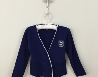 80s Boys Navy Double Breasted Cardigan Sailor Suit Sweater, Size 4T