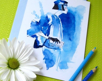 Watercolor Fashion Illustration, Art Print, Wall Decor/Greeting Card