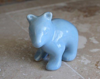 Shawnee Pottery bear cub - blue pottery polar bear - collectible Shawnee Pottery bear cub - small bear cub figurine - mid century modern
