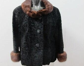 SALE! 1950s Astrakhan and Mink Fur Coat