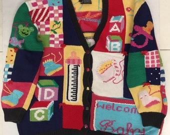 Berek Hand Knit Sweater 'Welcome Baby' Baby Shower Attire Size LG