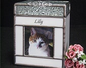Pet Urn Small #2 Cat or Dog Pet Cremation Photo Urn in Stained Glass