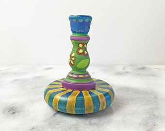 Hand Painted Candlestick Holder