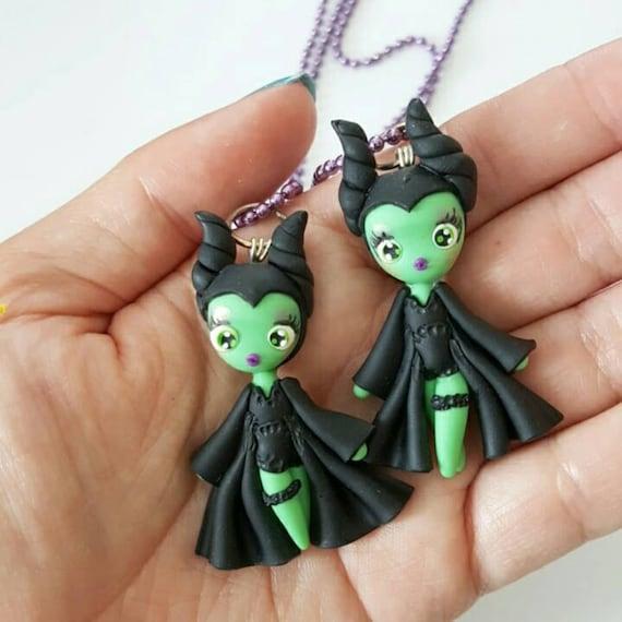 Maleficent, Sleeping Beauty, Villain Polymer Clay Pendant, Villian Necklace, Cosplay, polymer clay, clay pendant, Kawaii, Chibi, Necklace