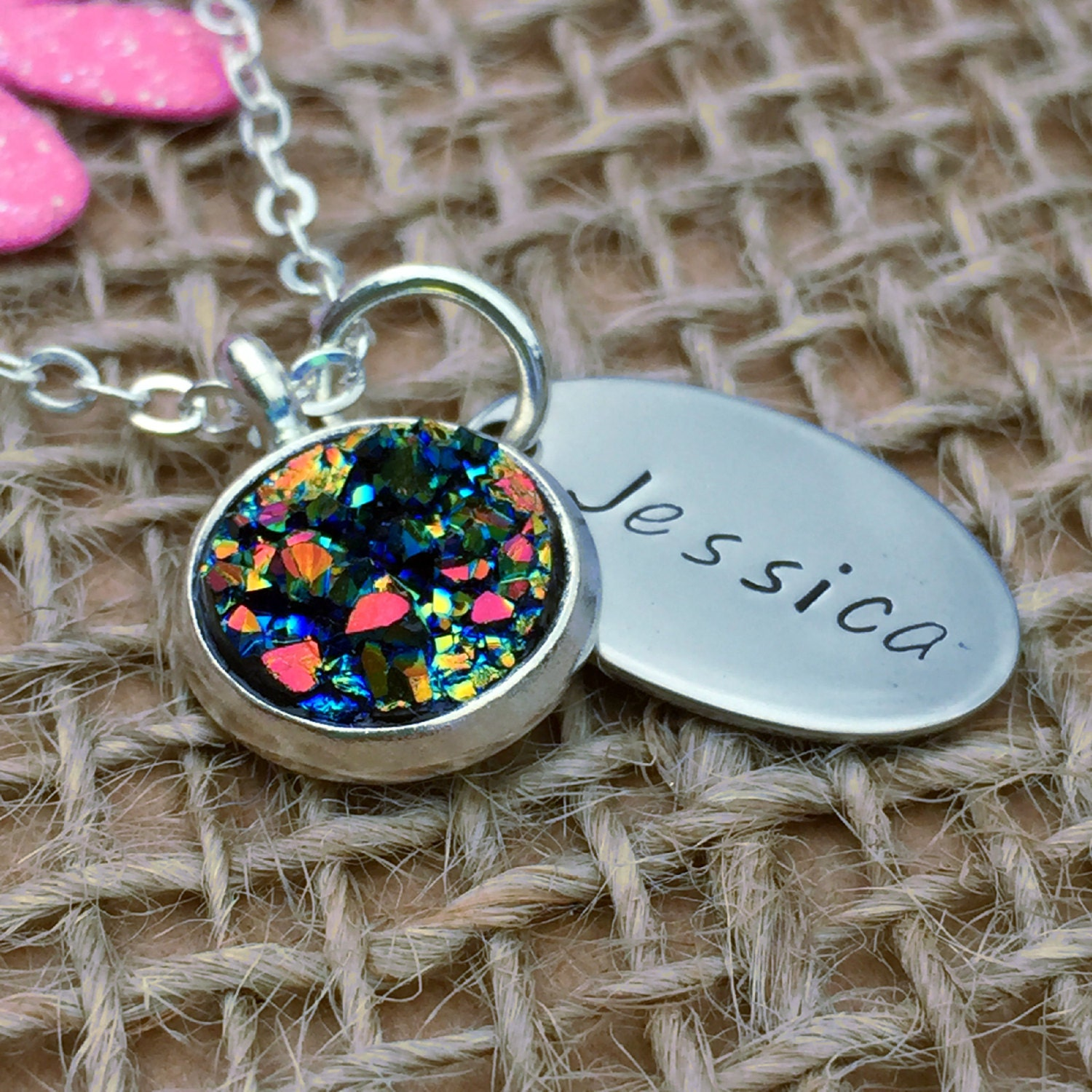 Personalised faux druzy pendant necklace personalised necklace personalised faux druzy pendant necklace personalised necklace birthday gift birthday gift ideas for negle Choice Image