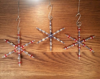 3 Red, White, & Blue Hand Crafted Snowflake Ornaments