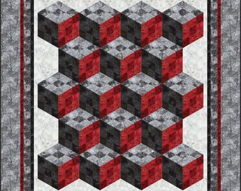 Nine Patch Tumbler Quilt pattern. Queen. Lap. Tumbling. Block. Variation