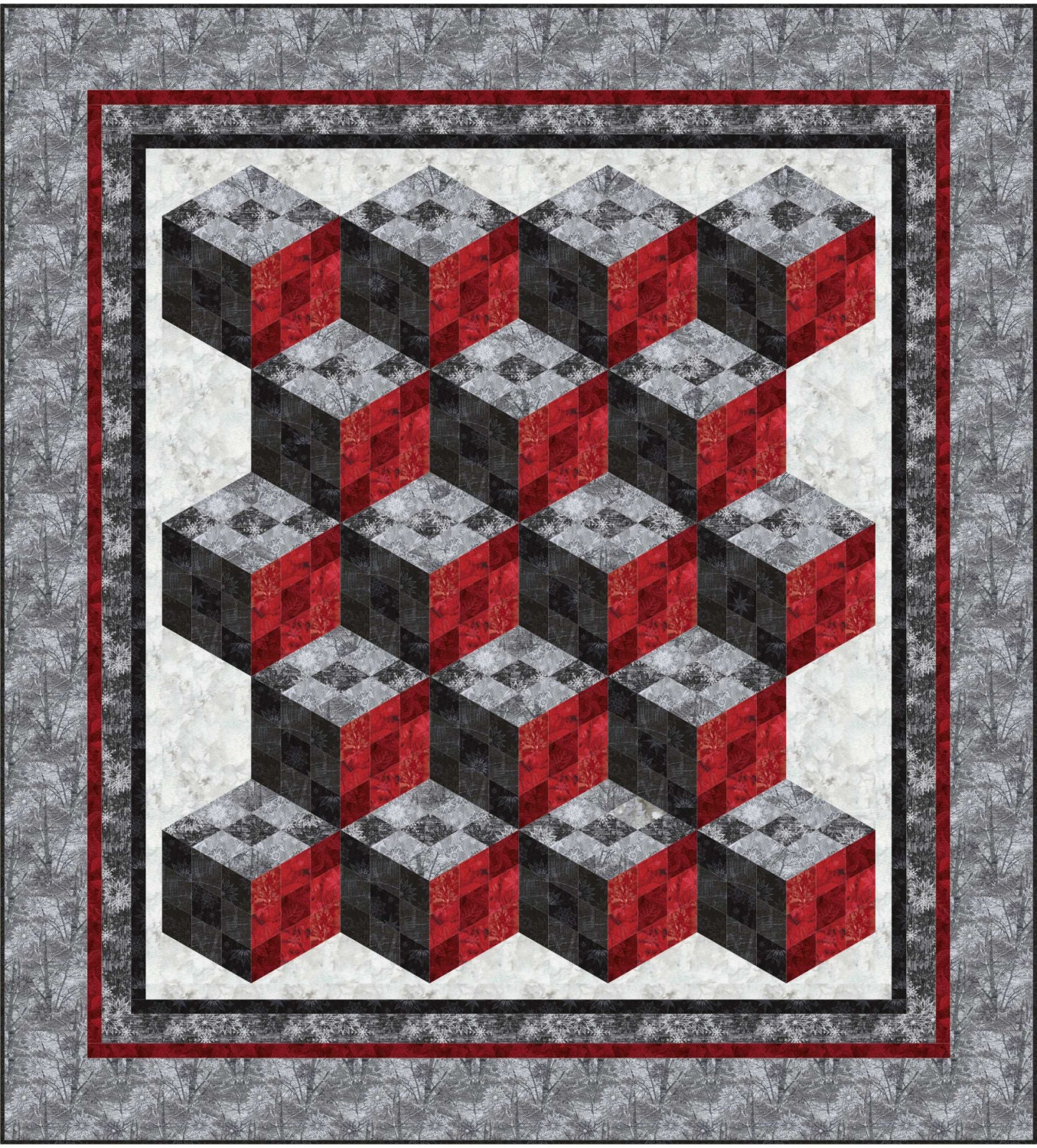 Quilting Patterns Tumbling Blocks : Nine Patch Tumbler Quilt pattern. Queen. Lap. Tumbling. Block. Variation from fabricaddictshop ...