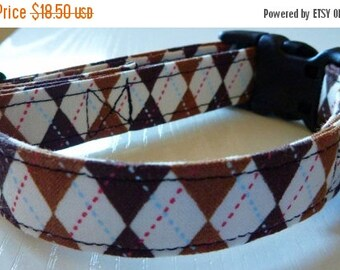 """Sale 50% Off Dog Collar - Brown Argyle  - """"Hooty Hoot""""-NO EXTRA CHARGE for colored buckles"""