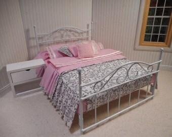 Miniature Dollhouse white wrought iron bed