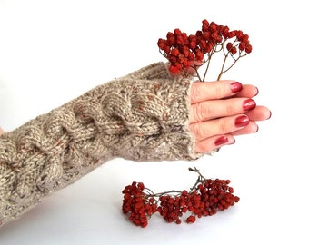 SALE - 20% Off! Knit Fingerless Gloves. Knitted Gloves. Long Gloves. Knitted Wrist Warmers. Knit Arm Warmers. Beige Gray Women Gloves.