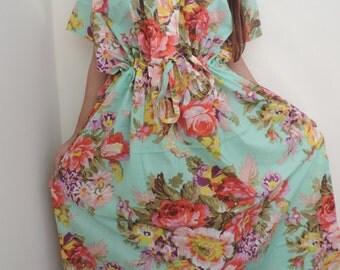 Floral Kaftan , Caftan, Kaftan, Mint Kaftan, Perfect long dress, Spa Robe, For to be Moms, beach cover up, Sleepwear, Best Gift for her