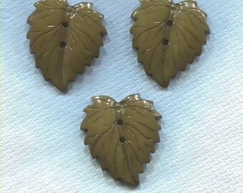 3 Large Green Realistic Leaf Buttons-(M52)