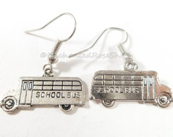 Silver School Bus Earrings ~ Boho Chic ~ Trending Womans Jewelry ~ Unique Style ~ Teacher Gifts