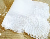 Vintage Lace Wedding Hankerchief /Wedding Hankie/ Lace Needlepoint Hankie With Roses/White Hankie/ Something Old /Tea Party/Home Decor