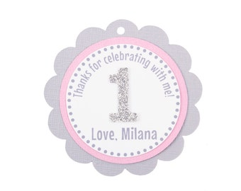 Pink and Gray Favor Tag, Pink and Silver Favor Tag, Pink and Gray First Birthday, Pink and Gray Birthday Decorations, Pink and Gray Favor,