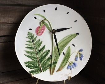 Lady Slipper ART, lady slipper wall clock, wild Orchid Handmade Flower Wall Clock, Lady Slipper watercolor Clock,  Unique Wedding Gift