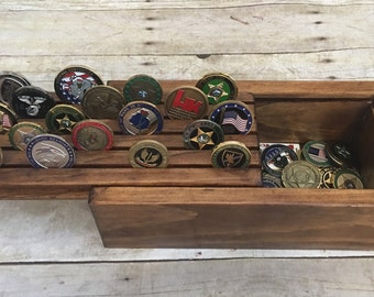 Challenge Coin Display Holder Box Collector Military Law Enforcement Wood Display Case Holds 25 Coins Keepsake Box Storage