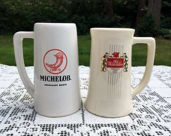 "Set of 2 Beer Steins/Ceramic Draught Beer Mugs/Michelob & Old Milwaukee/6"" White Beer Mugs/ Man Cave Decor/McCoy Pottery Mugs/Octoberfest"