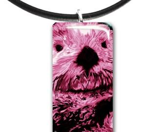 light rose pink, Sea Otter pendant, hand painted unique artwork, Adorable Otter, Glass tile penant, light rose pink