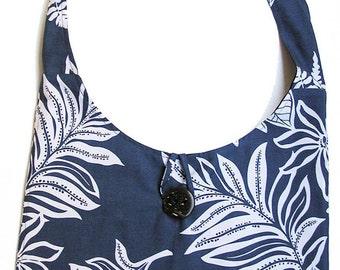 Made in Hawaii Steel Blue and White Hawaiian Print Hobo Bag Pocket Inside