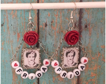 Frida Kahlo Artist Rose Earrings