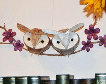 Hoot owl wall hanging, owl mobile