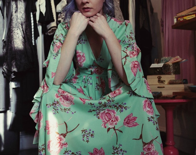 70s Angel Wing Floral Maxi Festival Prom