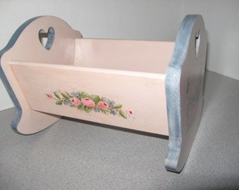 Rocking Wood Doll Cradle, Hand painted flower motif, Heart cut out, Solid wood cradle, Rocking wood cradle