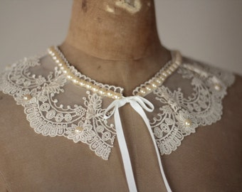 Champaigne guipure Lace detachable collar decorated with pearls,Collar Necklace,Boho Collar,Victorian Collar,Boho ,Victorian Accessory