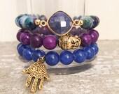 Royal blue bracelet set; set of three bracelets; good luck bracelet set