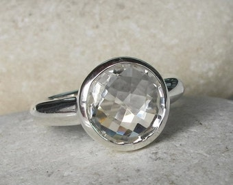 SALE White Topaz Promise Ring- April Birthstone Ring- Classic Promise Ring