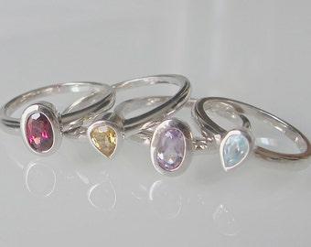 Gemstone Stack Ring- Stack Ring- Midi Ring- Mothers Ring- Birthstone Rings- Amethyst Ring- Garnet Ring- Blue Topaz Ring- Citrine Rings