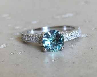 Aqua Green Engagement Ring- Promise Ring for Her- Solitaire Cz Accent Ring- Anniversary Silver Rings- Sterling Silver Ring