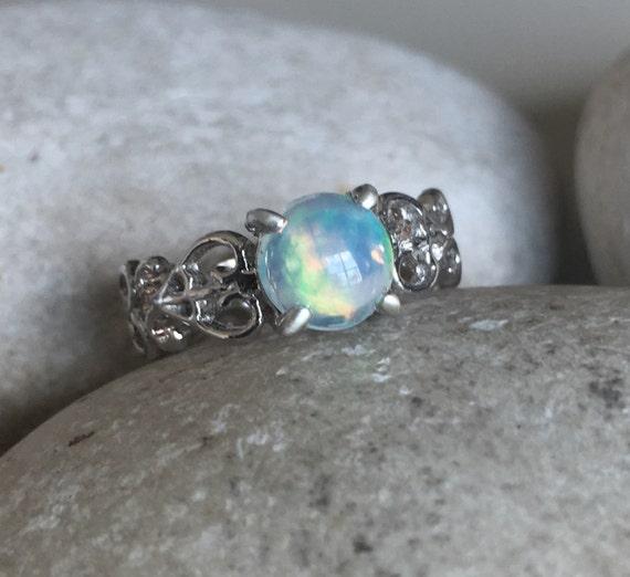 opal engagement filigree ring natural opal promise ring. Black Bedroom Furniture Sets. Home Design Ideas
