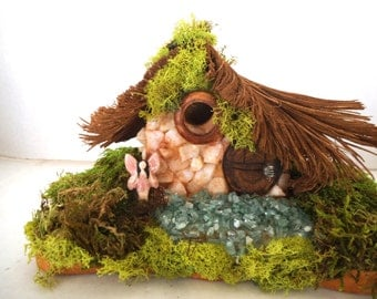Enchanting ......Lovely White Rock Fairy House in the Wood...OOAK