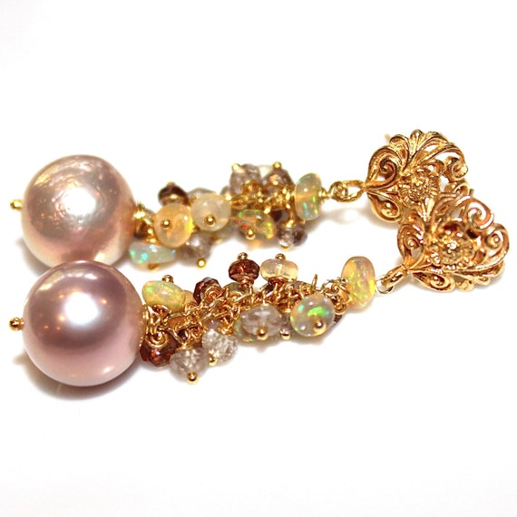 Large Baroque Pearl Earrings with Andalusite